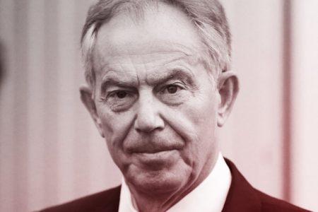 Portrait of Tony Blair looking pensive.