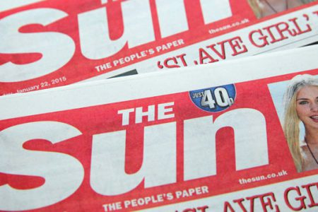Red-top header of Sun newspaper