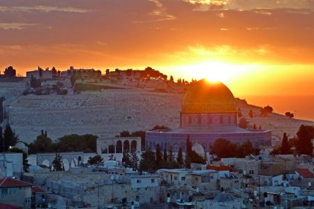 Sun setting over the Dome of the Rock, Jerusalem