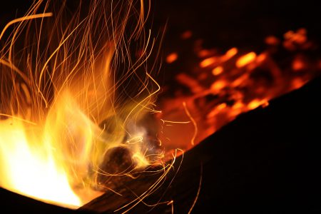 A close-up of the flames of a fire.