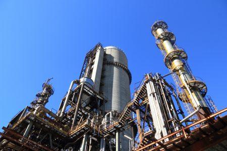 Oil rig viewed from below looking up.