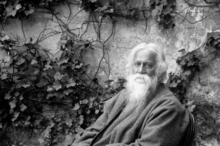 Portrait of Rabindranath Tagore in black and white.