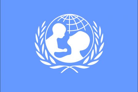 UN logo of world map but with mother and baby overlaid.