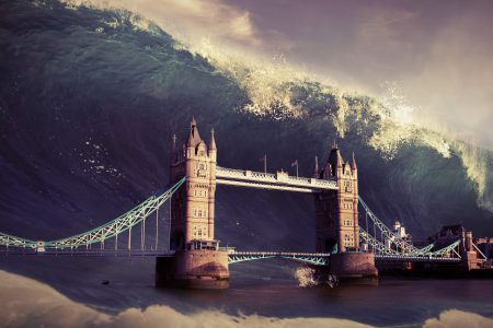 Tower of London about to be hit by large tsunami wave.