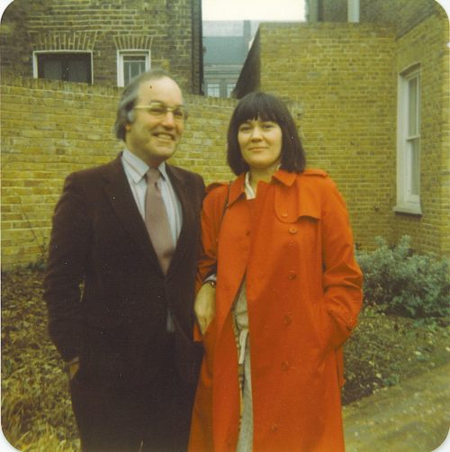 Clare with husband Alex Lyon soon after their marriage 1982, Clapham, London.
