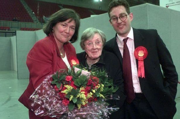 Clare with son Toby and her mother, Joan on election night.