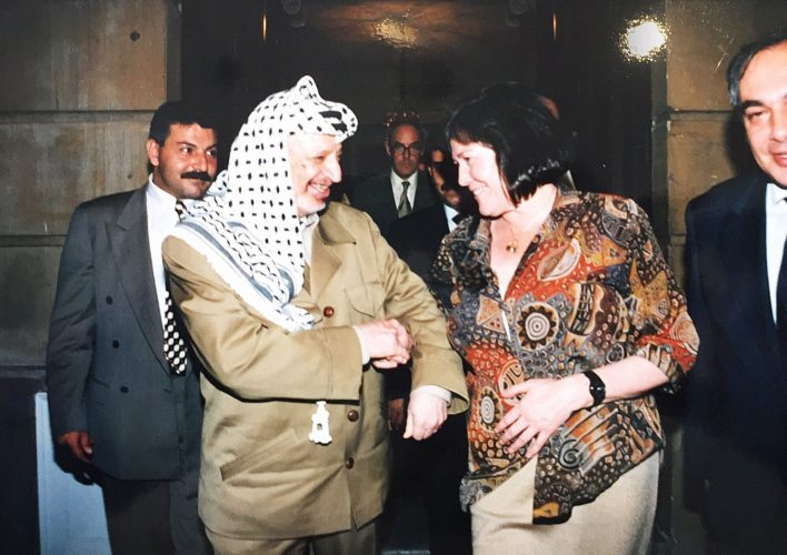 Clare as Secretary of State for International Development hosting Chairman Yasser Arafat for an official lunch at Lancaster House, London 1997.