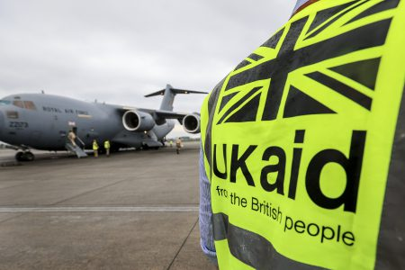 An RAF C-17 aircaft in Kathmundu Nepal on the 29 April 2015 delivering vital UK Aid.