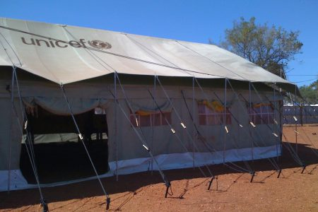 A UNICEF tent.