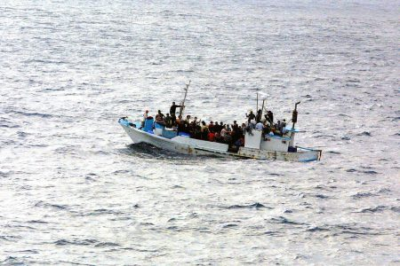 Rescued migrants at sea.