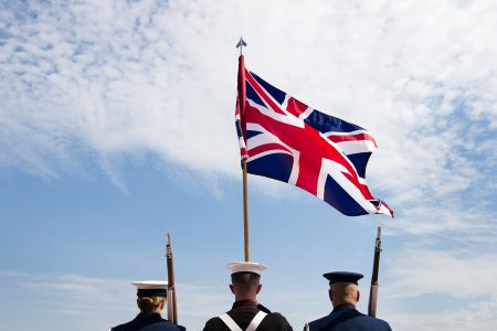 Soldiers with union jack.